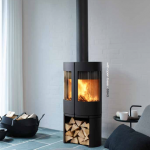 curved slow combustion wood fireplace
